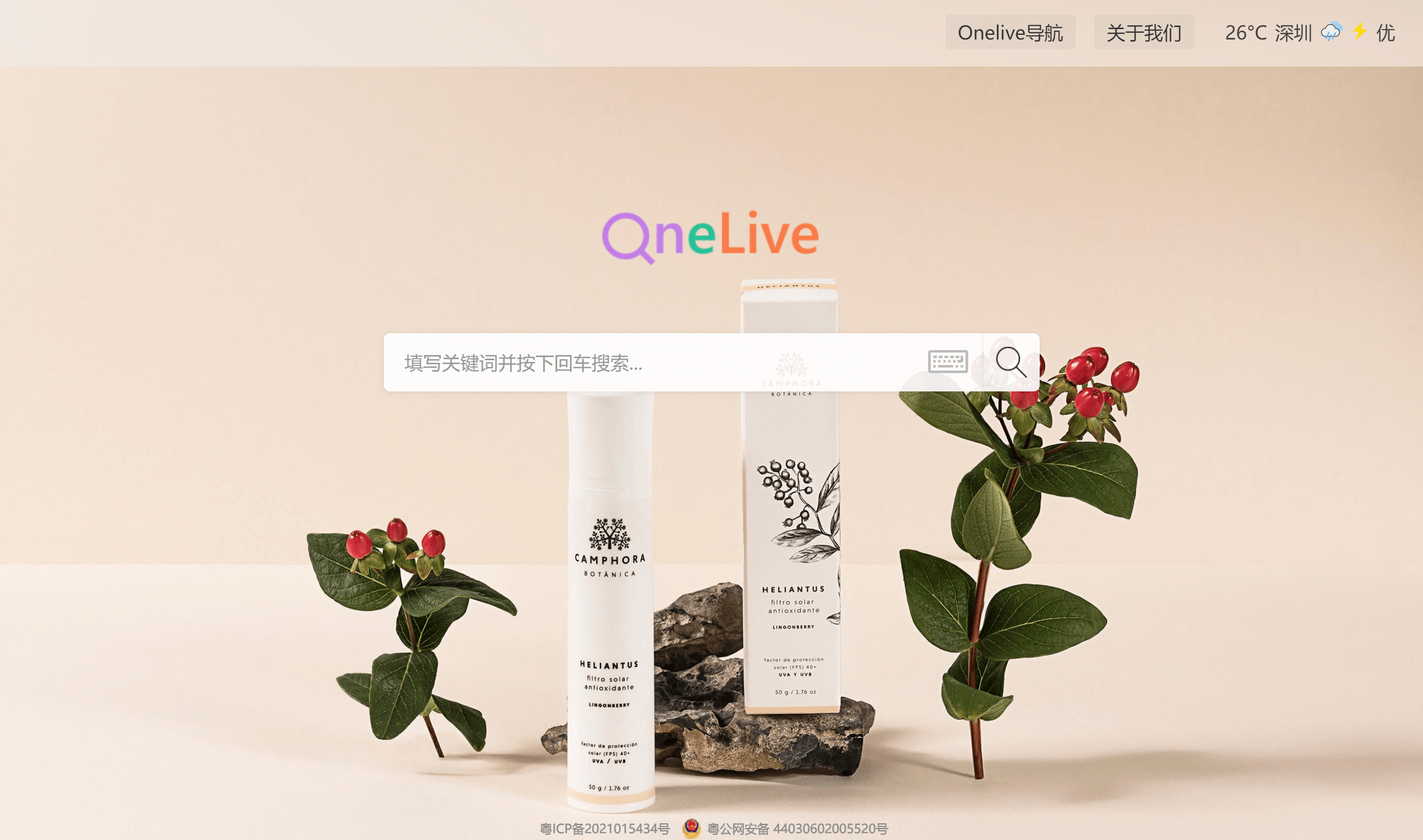 OneLive search home page